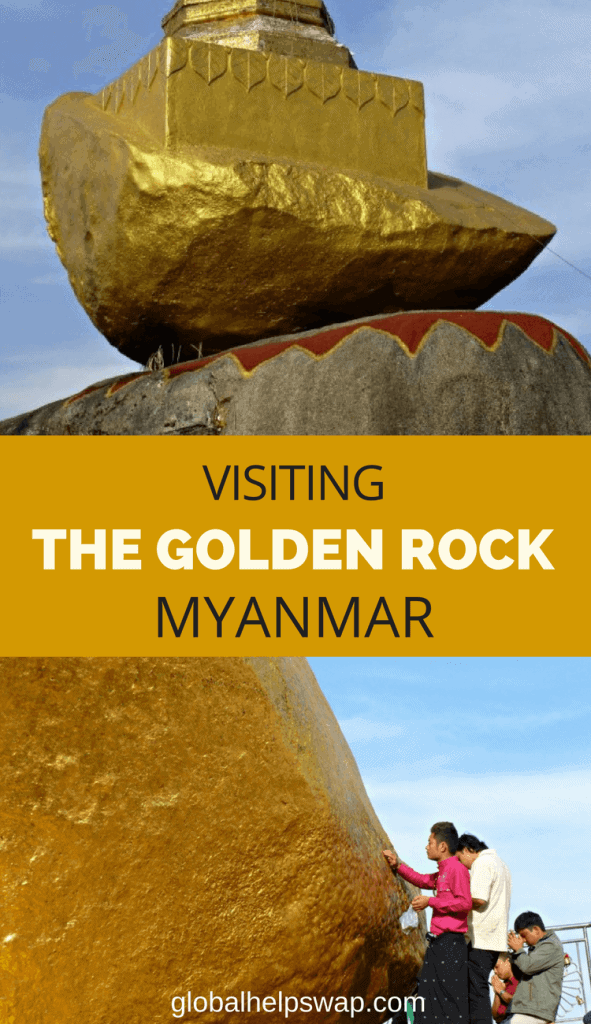 The Golden Rock in Myanmar/Burma is one of the most spectacular sites we have visited. This rock is full of gold leaf applied over the years by the people who make the pilgrimage to this Buddhist site.