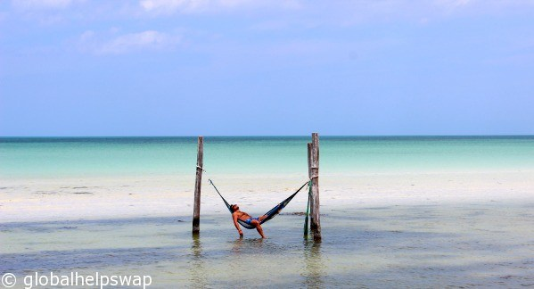 Isla Holbox hammocks in the sea