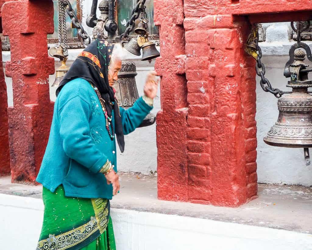 A Pilgrim at Boudha Stupa