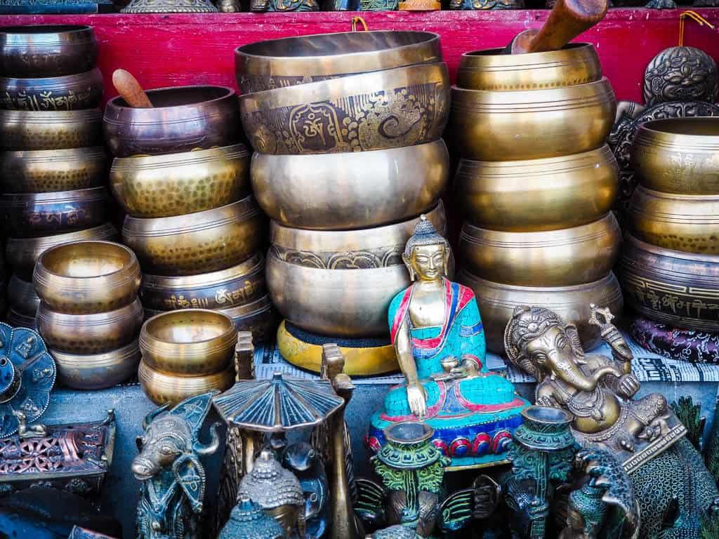 Tibetan singing bowls next to Boudha Stupa