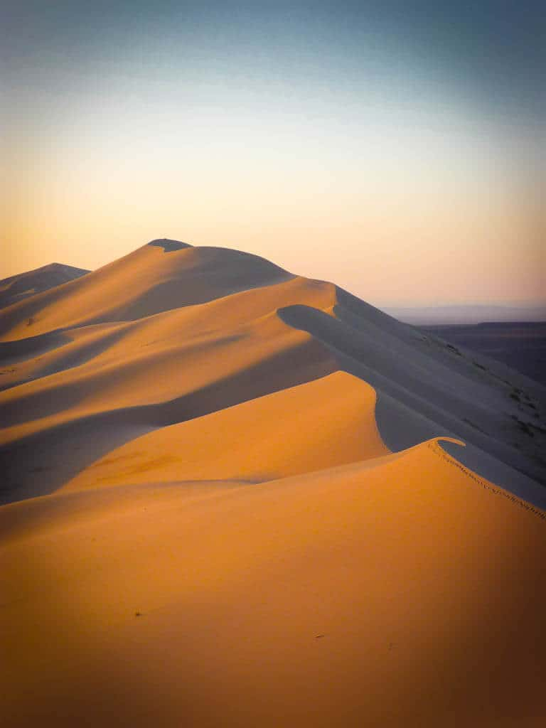 Sand dunes in the gobi desert, Mongolia