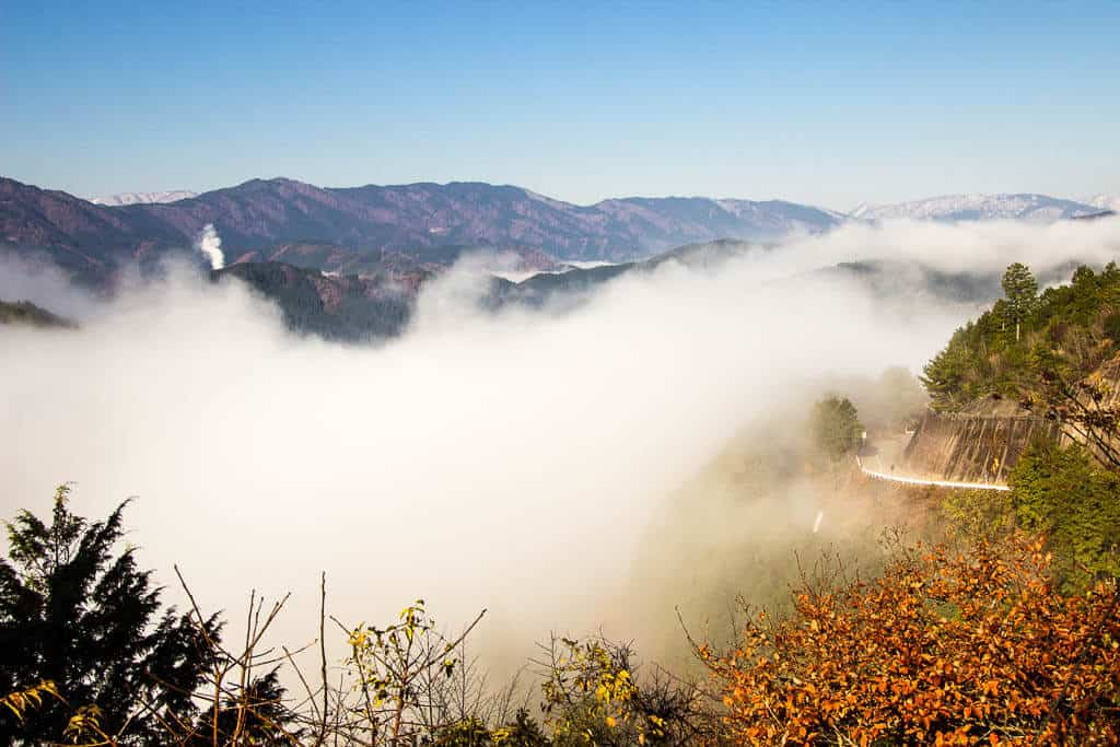 Mists covering Gujo Hachiman Castle, Japan