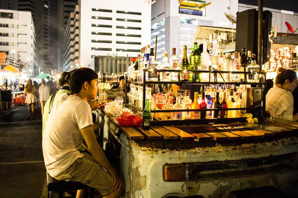 Cocktail bars at the train market bangkok
