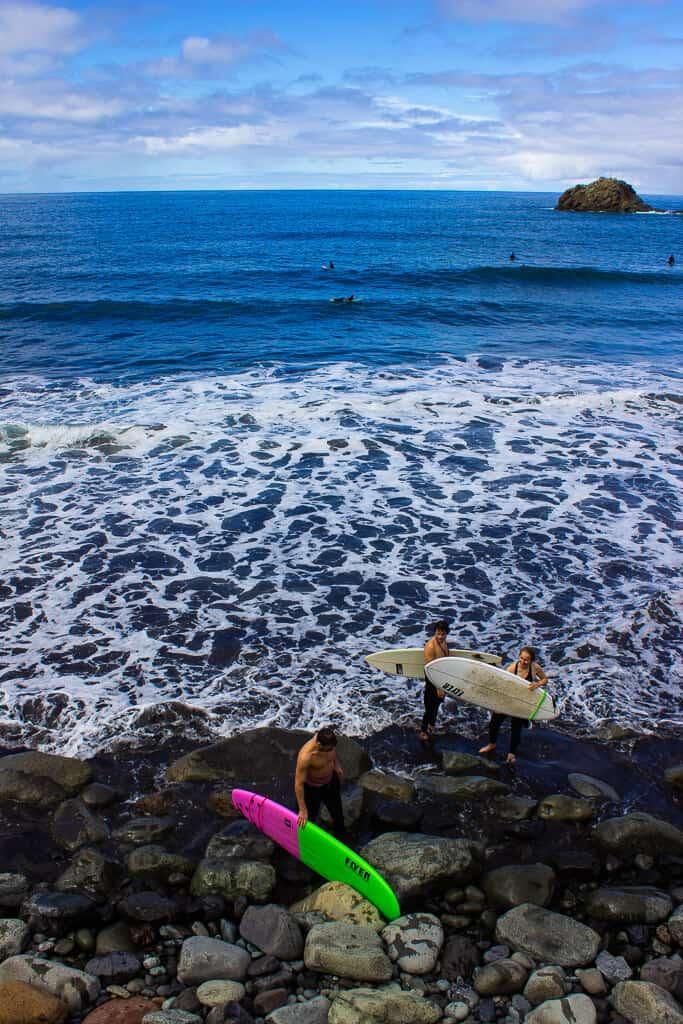 Surfing on Taganana Beach Tenerife