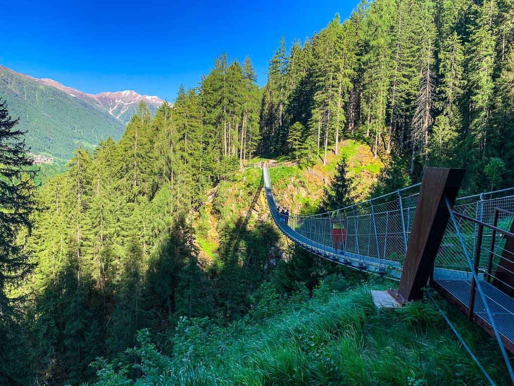 Crossing the bridge in Val di Rabbi, Trentino