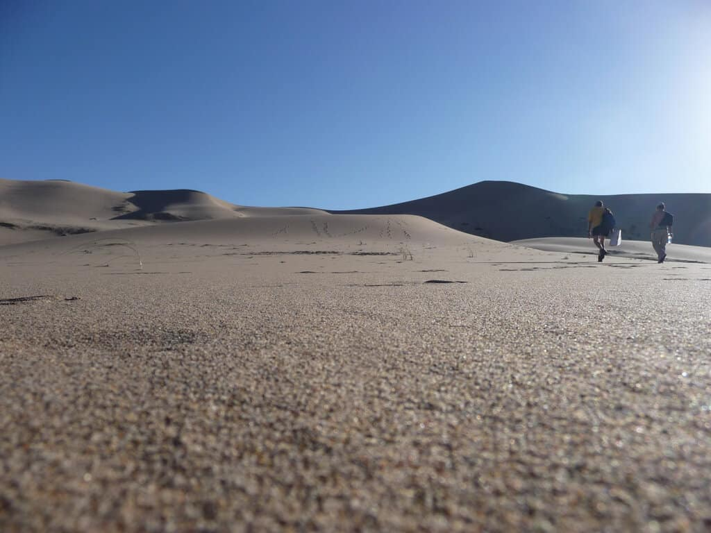 The start of the climb up the sand dunes