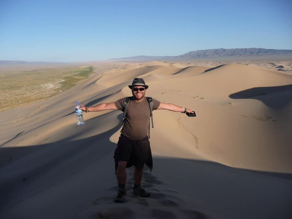 Near the top of the sand dunes in the Gobi Desert