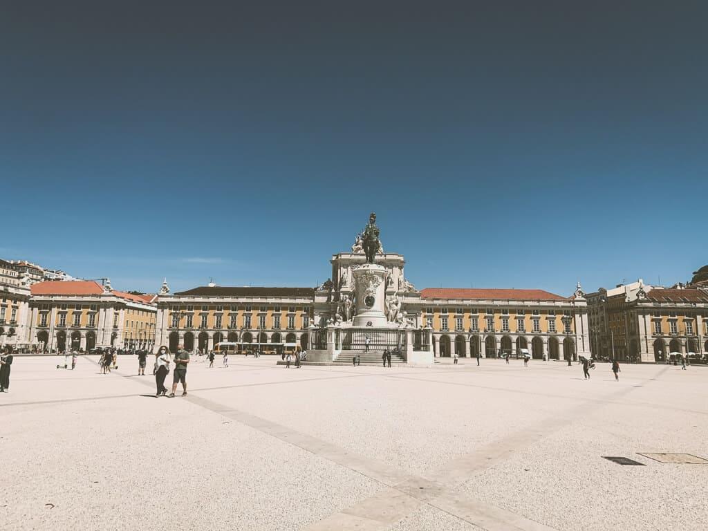 An empty main square in Lisbon